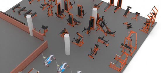 Визуализация расстановки оборудования в тренажерном зале 260 м2