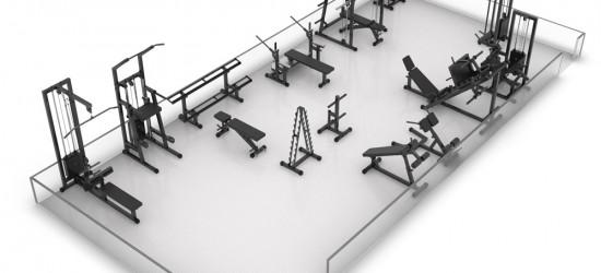 Визуализация расстановки оборудования в тренажерном зале 60 м2