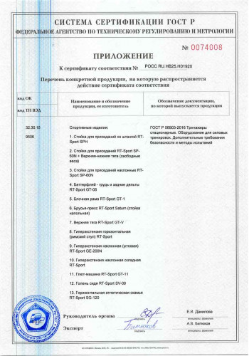 Сертификат ГОСТ-Р RT-Sport приложение 1