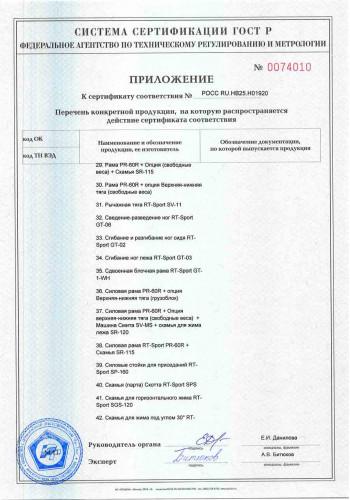 Сертификат ГОСТ-Р RT-Sport приложение 3