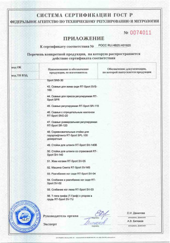 Сертификат ГОСТ-Р RT-Sport приложение 4