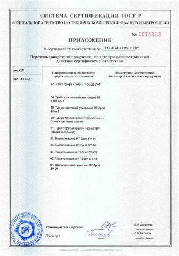 Сертификат ГОСТ-Р RT-Sport приложение 5