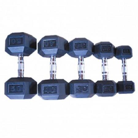 Гантельный ряд 12,5-30кг (8 пар), с шагом 2,5 кг.